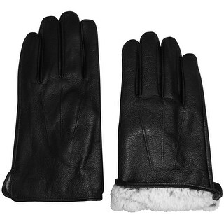 NICE CAPS Mens Leather Glove With Plush Lining And Tucked Trim - Black
