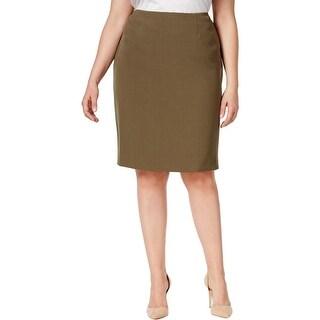 Kasper Womens Plus Pencil Skirt Pleated Slit