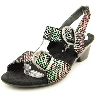 Helle Comfort Faye Women Open-Toe Canvas Black Slingback Sandal