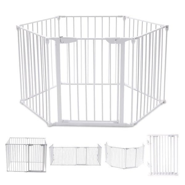 Costway 6 Panel Metal Gate Baby Pet Fence Safe Playpen Barrier