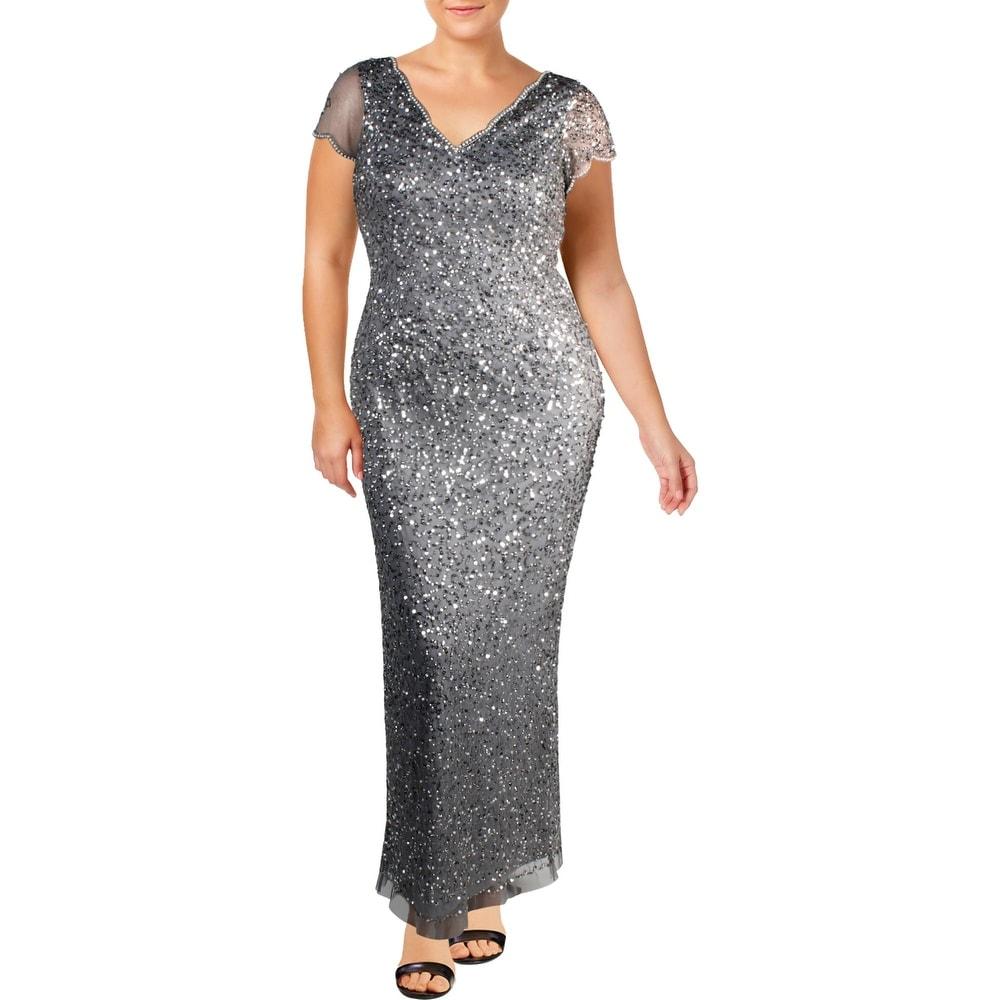 Adrianna Papell Womens Formal Dress Mesh Embellished - Silver Grey