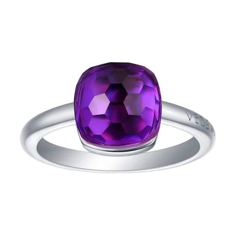 Vedantti Magic Honeycomb Cut Purple Amethyst Gemstone Violet Guard Solitaire Ring