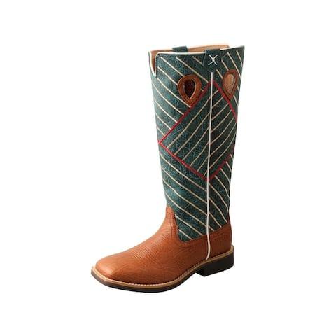 Twisted X Western Boots Boys 10 Buckaroo Cognac Green
