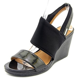 Calvin Klein BRAYLIN Open Toe Patent Leather Wedge Heel