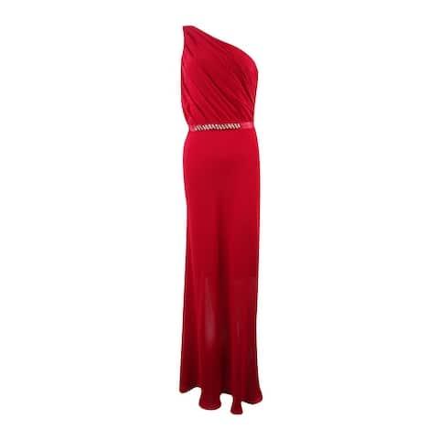 MSK Women's Rhinestone Ribbon-Belt One Shoulder Dress - Red/Silver