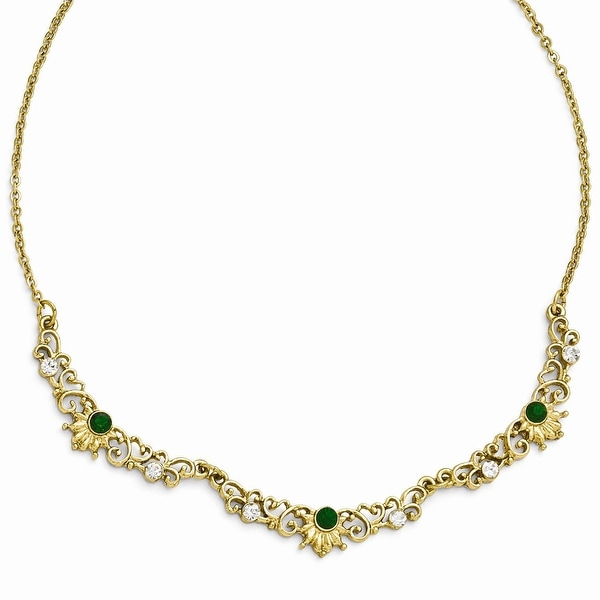 Goldtone Green/Clear Glass Link Necklace - 16in