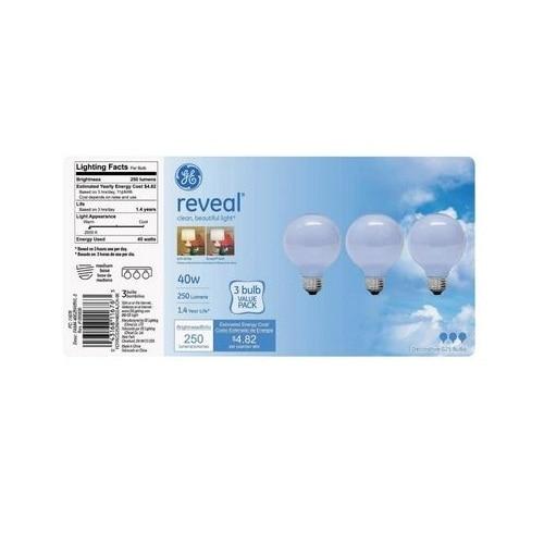 GE 11676 Reveal Incandescent Decorative Bulb, 40 Watts, 120 Volt