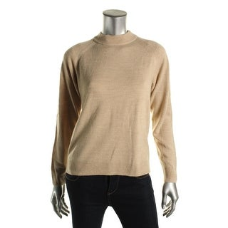 Karen Scott Womens Heathered Raglan Sleeves Mock Sweater