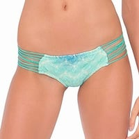 Luli Fama Green Womens Size Medium M Strappy Bikini Bottom Swimwear