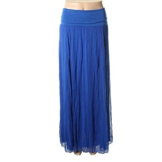 Max & Mia Womens Chiffon Fold-Over Maxi Skirt - M