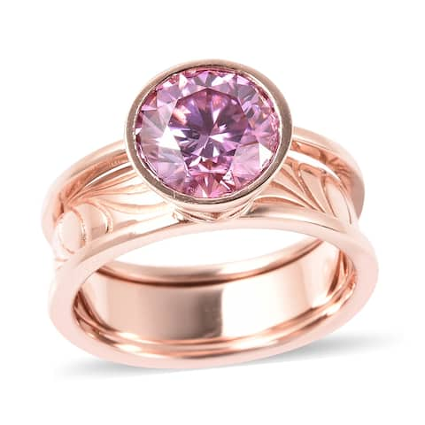 Shop LC Rose Gold Over 925 Silver Moissanite Solitaire Ring Ct 2.5