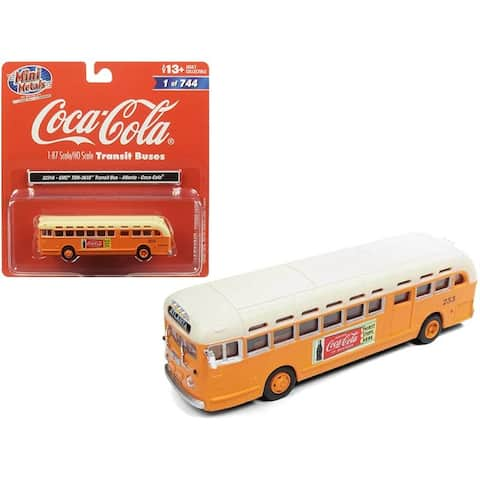 GMC TDH-3610 Transit Bus (Atlanta) Coca Cola Orange with Cream Top 1/87 (HO) Scale Model by Classic Metal Works