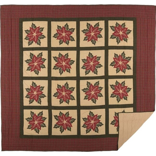 National Quilt Museum Poinsettia Block Quilt - King - Free Shipping Today - Overstock.com - 26325635