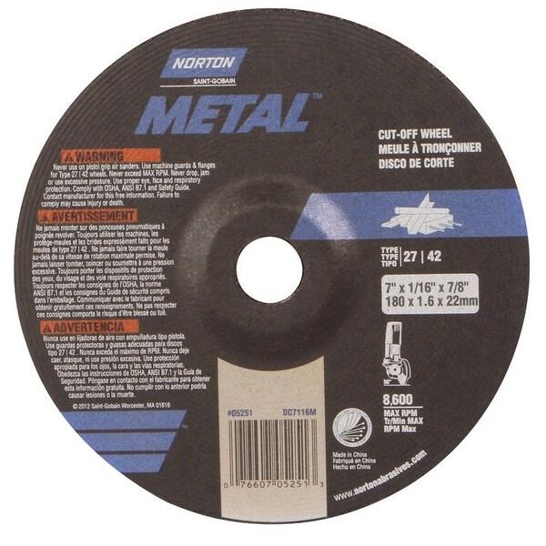 Shop Norton 07660705251 Metal Cut Off Wheel 7 Quot X 1 16 Quot X 7 8 Quot 8 600 Rpm Free Shipping On