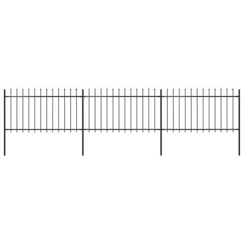 "vidaXL Garden Fence with Spear Top Steel 200.8""x39.4"" Black"