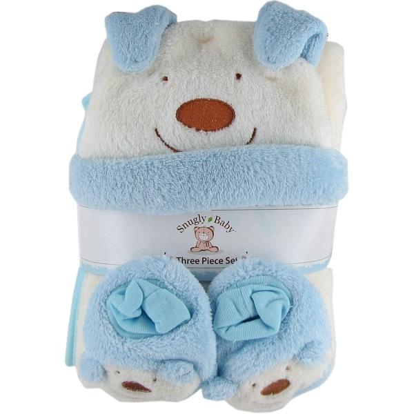 Snugly Baby 3 Pc Set Blue Fleece Baby Blanket w/ Booties & Hat