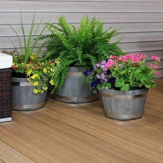 Sunnydaze 3-Piece Fiber Clay Barrel Indoor/Outdoor Planter Flower Pot - Gray - 3-Piece Set