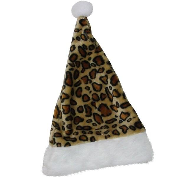 "16.5"" Brown and White Cheetah Print Christmas Santa Hat with White Faux Fur Brim"
