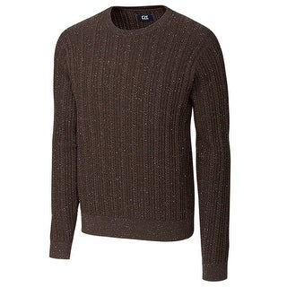Cutter & Buck Brown Mens Size Medium M Cable Knit Crewneck Sweater