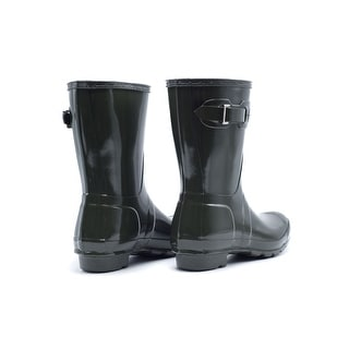 Hunter Womens Refined Green Short Gloss Rain Boots