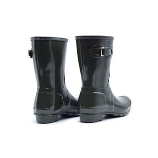 Hunter Womens Refined Green Short Gloss Rain Boots