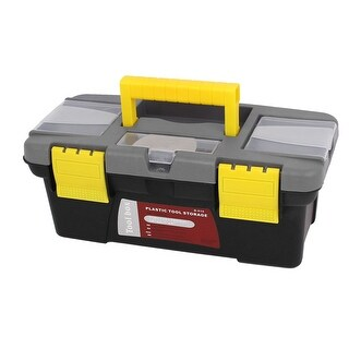 Unique Bargains Gray Yellow Plastic 2 Layers Multipurpose Hardware Tool Box 250mmx120mmx100mm