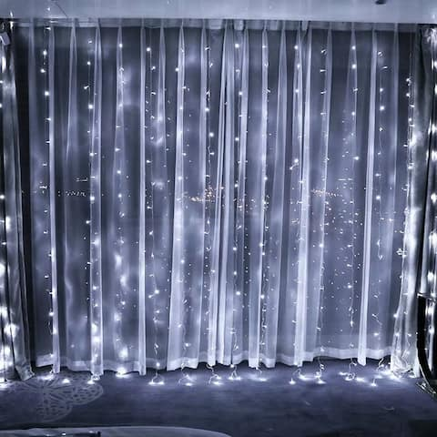320 LED Window Curtain Light, Icicles Christmas Fairy String Light, Pure White