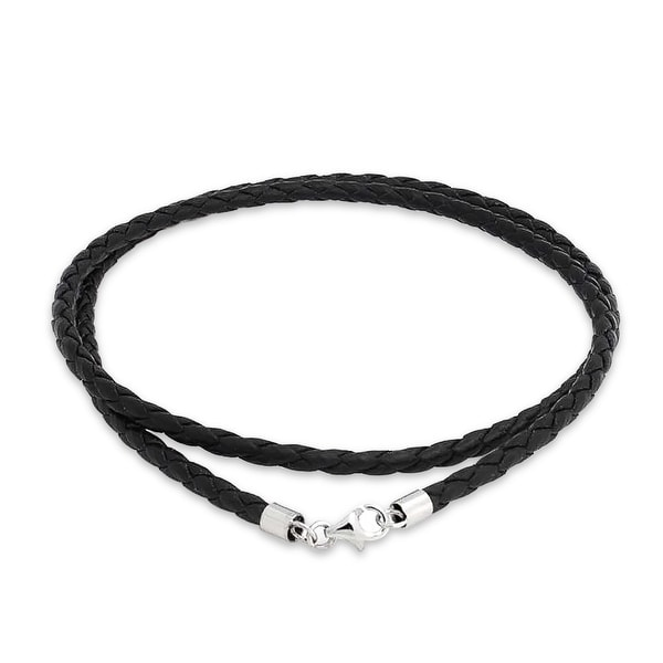 Black Brown Genuine Rope Weave Leather Braided Necklace Pendant Cord