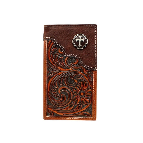 Nocona Western Wallet Mens Rodeo Cross Floral Embossed Brown - 6 3/4 x 3 3/4