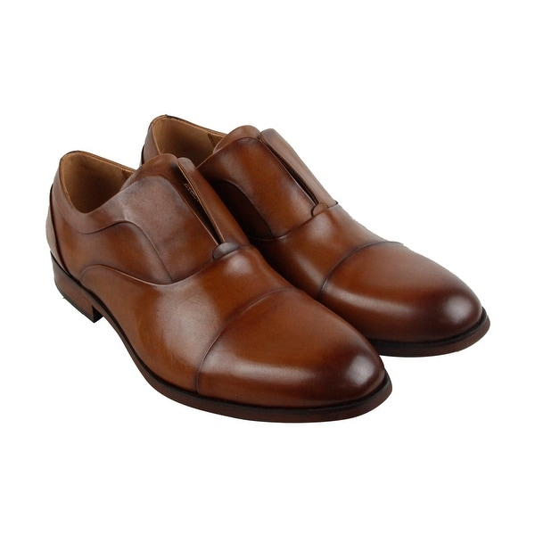 Steve Madden Scheme Mens Tan Leather Casual Dress Slip On Loafers Shoes