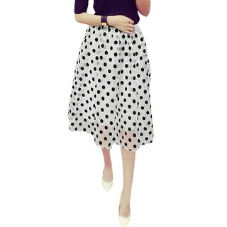 Unique Bargains Women's Polka Dots Pattern Elastic Waist Fully Lined Organza Skirt (Size XS / 2)