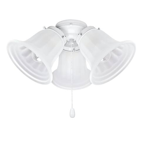"Aspen Creative Three-Light Ceiling Fan Fitter Light Kit with Pull Chain, 5 1/2"" Diameter, Painted White - PAINTED WHITE"