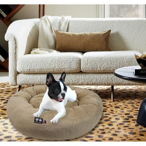Bessie and Barnie Ultra Plush Deluxe Comfort Pet Dog & Cat Taupe Snuggle Bed- Machine Washable, Made in the USA
