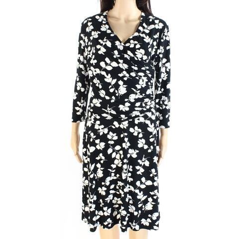 Lauren By Ralph Lauren Womens Faux-Wrap Dress Floral Surplice