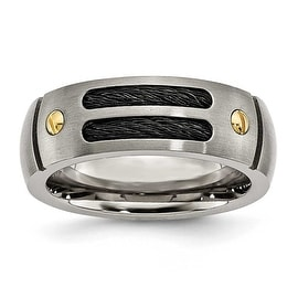 Titanium Grooved Black Plated 24k Gold Plated Accent 8mm Brushed Band