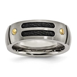 Titanium Grooved Black Plated 24k Gold Plated Accent 8mm Brushed Band (More options available)