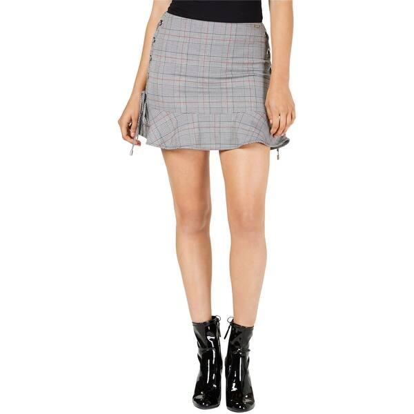 GuessCelestine Plaid Side-Tie Mini SkirtGrey