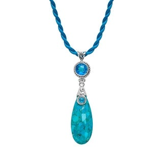 Sajen Turquoise Pendant with Rainbow Paraiba Quartz in Sterling Silver - TEAL
