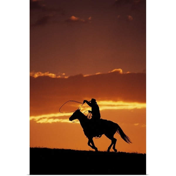 """""""Silhouette of cowboy on horseback at sunset"""" Poster Print"""