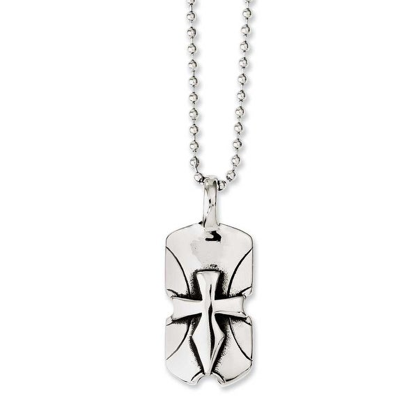 Chisel Stainless Steel Dagger Cross Dogtag 20in Necklace (2 mm) - 20 in