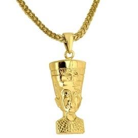 Mens Designer Egyptian Ruler Pendant Queen Nefertiti Charm 18K Yellow Gold Tone Free Stainless Steel Franco Chain