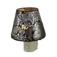 Crackled Silver Mirrored Glass Plug In Night Light