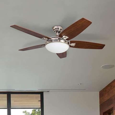"48"" Honeywell Carmel Brushed Nickel Ceiling Fan with Integrated Light and Remote"