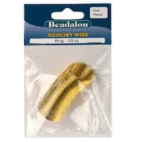 Beadalon Ring Size Memory Wire Gold Plated Steel 95 Loops 1/2 Oz