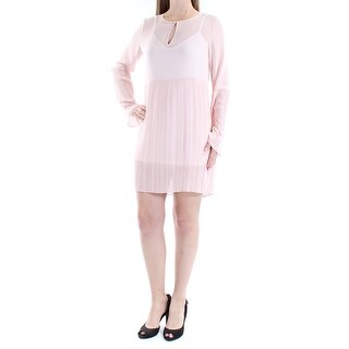 BCBGENERATION $118 Womens New 1199 Pink Sheer Pleated Long Sleeve Dress 2XS B+B
