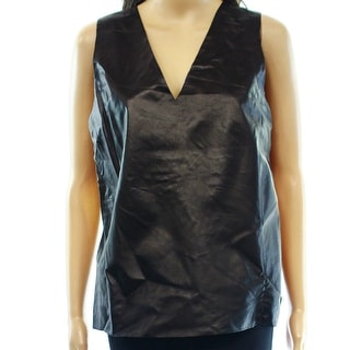 Vince NEW Black Silk Women's Size 10 Tank Cami Leather V-Neck Top