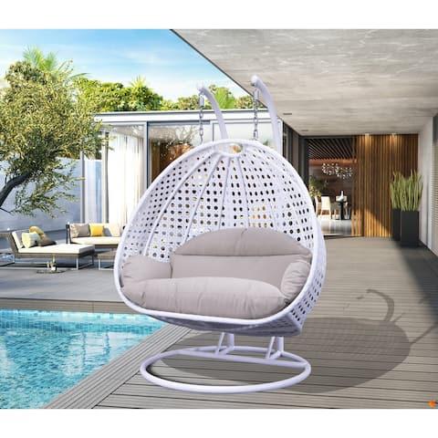 LeisureMod Indoor Outdoor Wicker 2-person Hanging Swing Chair