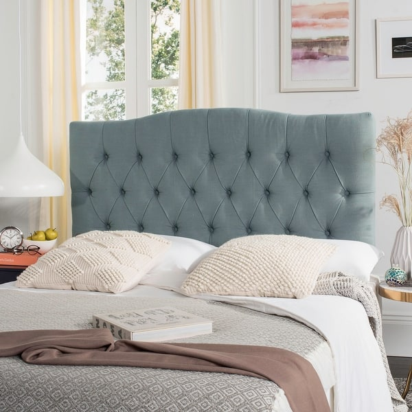 Shop Safavieh Axel Sky Blue Upholstered Tufted Headboard Queen On Sale Overstock 8306985