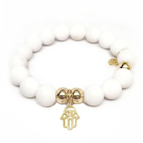 Julieta Jewelry Protection Hand Charm White Jade Bracelet