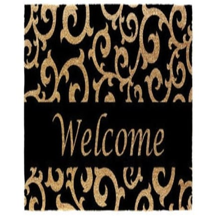 "J & M Home Fashions 4289 Coir Floor Mat, Black Scroll With Welcome, 18"" X 30"""